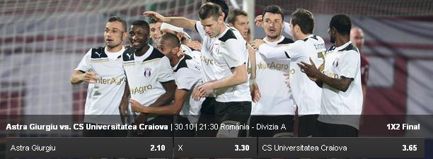 Ponturi pariuri CS U Craiova vs Astra - Romania Liga 1 - 4 ...  |Astra Craiova