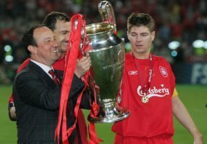 in action during the European Champions League final between Liverpool and AC Milan on May 25, 2005 at the Ataturk Olympic Stadium in Istanbul, Turkey.