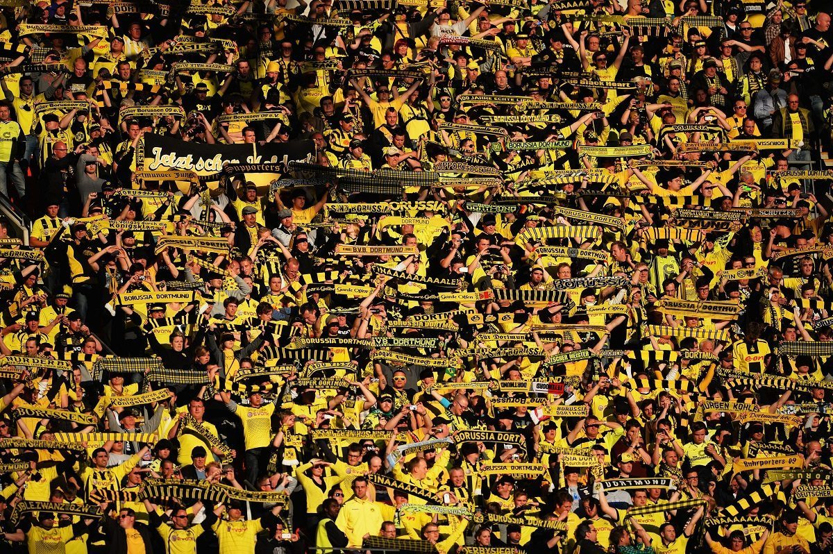 LONDON, ENGLAND - MAY 25:  A general view of Borussia Dortmund fans during the UEFA Champions League final match between Borussia Dortmund and FC Bayern Muenchen at Wembley Stadium on May 25, 2013 in London, United Kingdom.  (Photo by Laurence Griffiths/Getty Images)