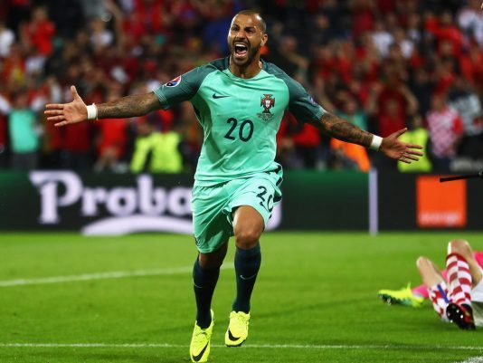 LENS, FRANCE - JUNE 25: Ricardo Quaresma of Portugal celebrates scoring the opening goal during the UEFA EURO 2016 round of 16 match between Croatia and Portugal at Stade Bollaert-Delelis on June 25, 2016 in Lens, France.  (Photo by Clive Mason/Getty Images)
