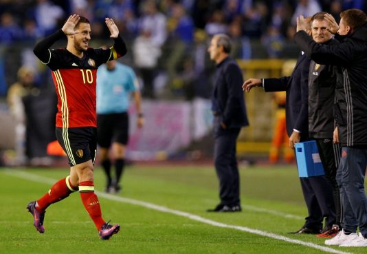 Football Soccer - Belgium v Bosnia and Herzegovina - World Cup 2018 Qualifier - King Baudouin stadium, Brussels, Belgium - 7/10/16. Belgium's Eden Hazard celebrates after scoring against Bosnia. REUTERS/Francois Lenoir  Picture Supplied by Action Images