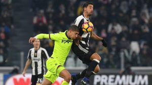 during the Serie A match between Juventus FC and Bologna FC at Juventus Stadium on January 8, 2017 in Turin, Italy.