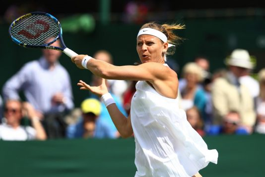 LONDON, ENGLAND - JUNE 27:  Lucie Safarova of The Czech Republic plays a forehand shot during the Ladies Singles first round match against Bethanie Mattek-Sands of The united States on day one of the Wimbledon Lawn Tennis Championships at the All England Lawn Tennis and Croquet Club on June 27th, 2016 in London, England.  (Photo by Julian Finney/Getty Images)