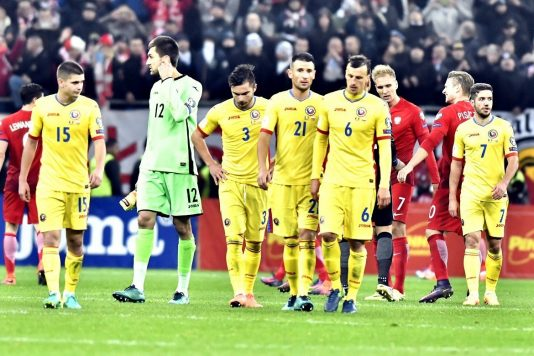 Fotbalistii romani Razvan Marin,Ciprian Tatarusanu,Alin Tosca,Dragos Grigore si Vlad Chiriches tristi la finalul meciului