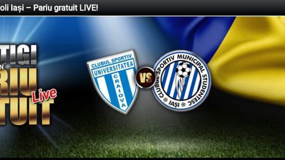 Pariază pre-meci și primești un pariu gratuit pentru LIVE la meciul CSU Craiova – Poli Iasi »» Detalii!