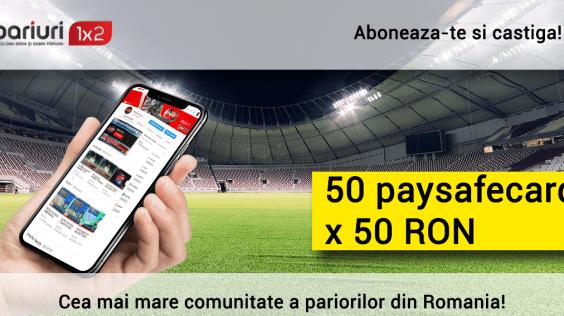 50 de paysafecard x 50 RON pentru abonatii nostri de pe YouTube!