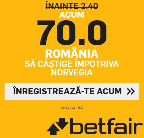 Agentia Betfair ofera cota 70 pentru victoria Romaniei, cu Norvegia