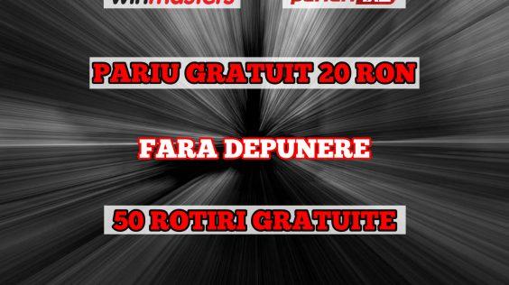 Disponibil FĂRĂ DEPUNERE doar prin Pariuri1x2.ro: 20 ron Pariu gratuit sau 50 Rotiri gratuite! Tu ce alegi?