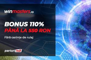 Pana la 550 RON la Winmasters! 110% bonus FARA RULAJ pentru noii clienti ai agentiei!