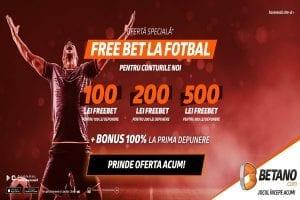 Promotie Exclusiva Betano & Pariuri1x2 in 2021 » Free Bet de 500 RON la fotbal  + bonus de bun venit in valoare de 500 RON!