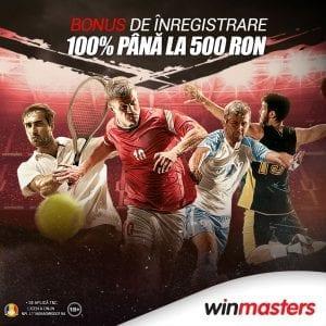 Profita ACUM! 100% pana la 500 RON bonus de bun venit la Winmasters! In plus, 40 RON pariu gratuit la verificarea contului!