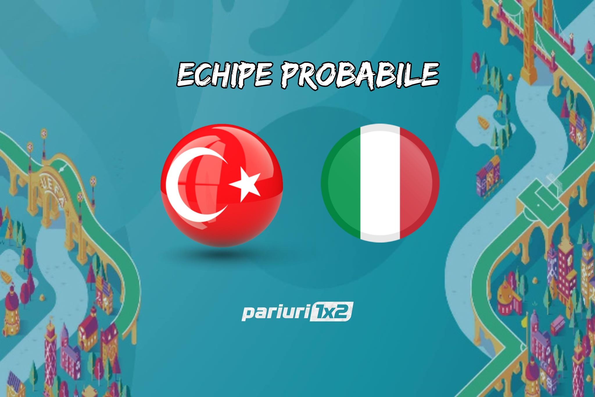 Echipe probabile Turcia - Italia